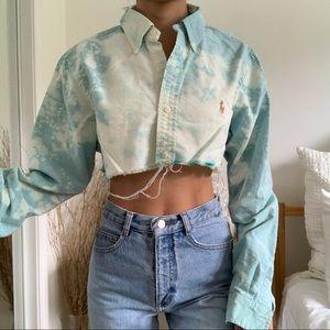 Bleached Ralph Lauren Cropped Collard Shirt